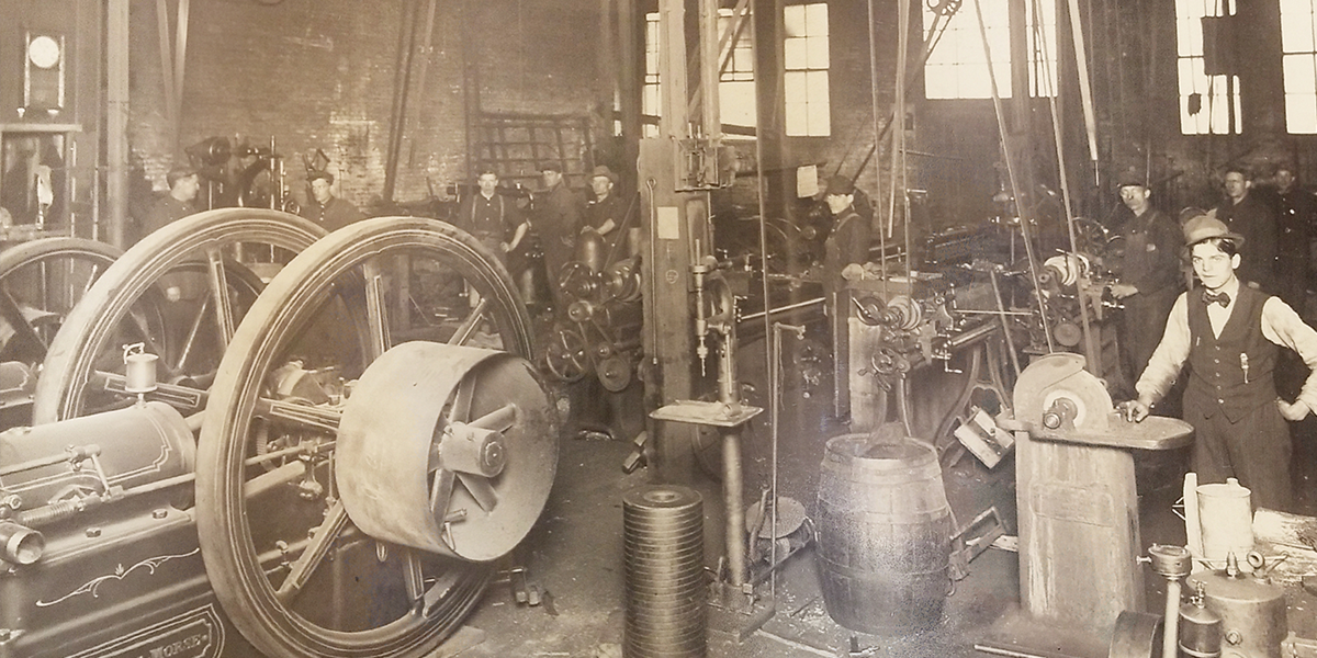vintage machining factory workers