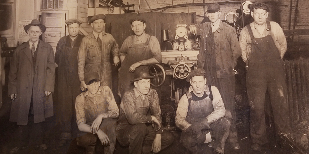 vintage machining workers