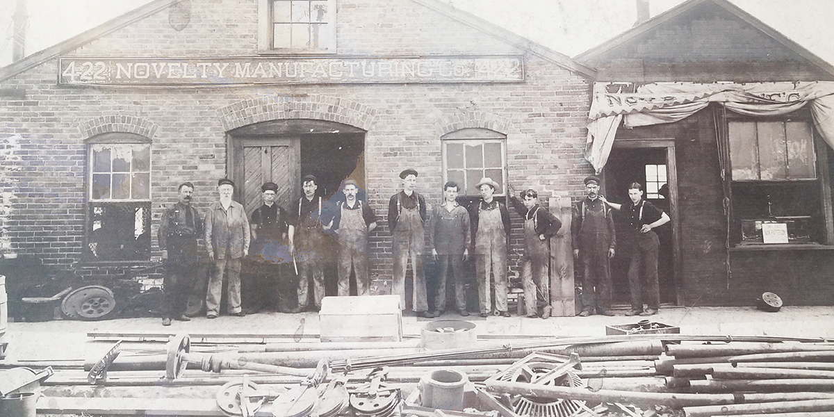 vintage metal workers building