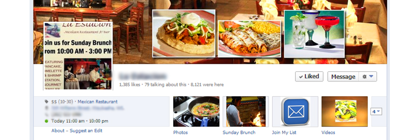 mexican restaurant facebook page screenshot