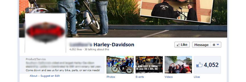 motorcycle dealership facebook screenshot